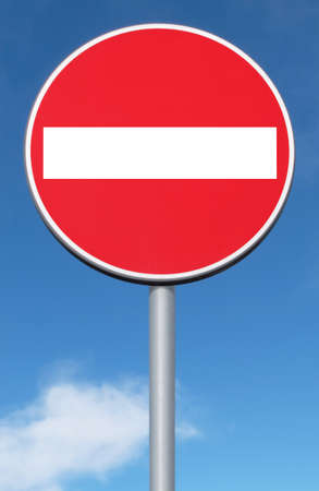 Road sign ban of access against the blue sky with copy space