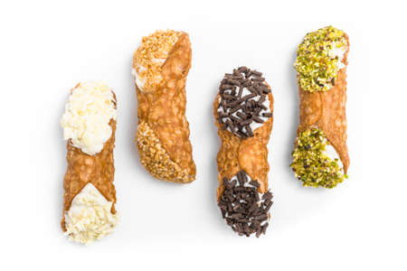 Traditional sicilian canolis on white background. Top view.