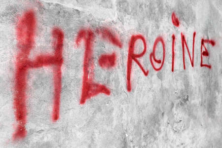"""""""Heroine"""" written on the wall. Ideal for concepts."""