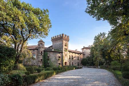 Medieval castle of Marne. Bergamo (ITALY) - October 25, 2019 新聞圖片