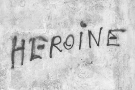Heroine written on the wall. Ideal for concepts.