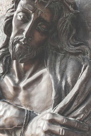 Vintage photo style. Fragment of Jesus Christ statue as a symbol of love, faith and religion. Banque d'images