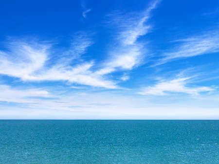 Calm sea and blue sky background. Metaphor to nature, peace, summer, travel, tropical, tourism, environment and holiday seascape.
