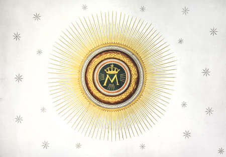Monogram of the Blessed Our Lady with crown, sun and stars on the background.