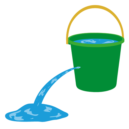 Water is poured out of a hole in a bucket Ilustracja