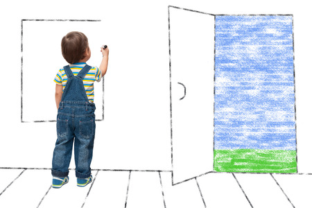 child draws an imaginary window in the house