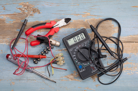 electrical parts and tools Stock Photo