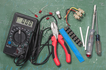 electrical parts and tools Banque d'images - 95392875