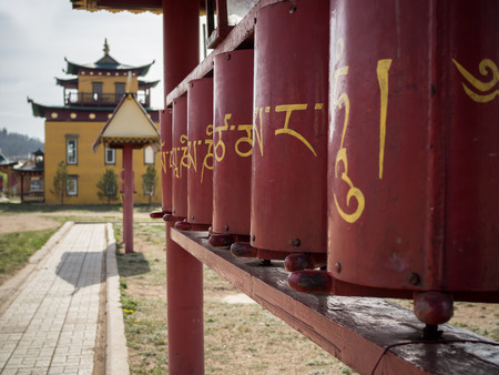 Buddhist temple in Ulan-Ude, Russia. Prayer drums in datsan.