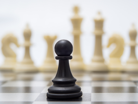 White and black chess pieces on a chessboard