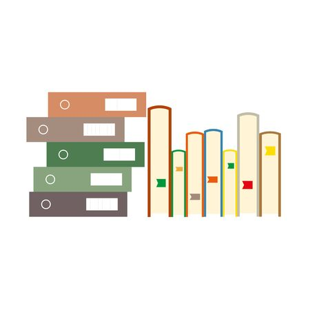 Folders file order and stack of books. Documents business icon management office data. Technology information archive isolated design. Illustration design isolated organize finance doc stack Vectores