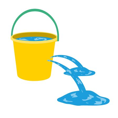 Wasser wird aus einem Loch in einem Eimer gegossen.