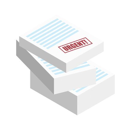 Urgent stamp on the stack of paper sheets. Authorization Approval Document, Confirmed Doc, License icon, Approved application. Flat outline modern icon concept design.