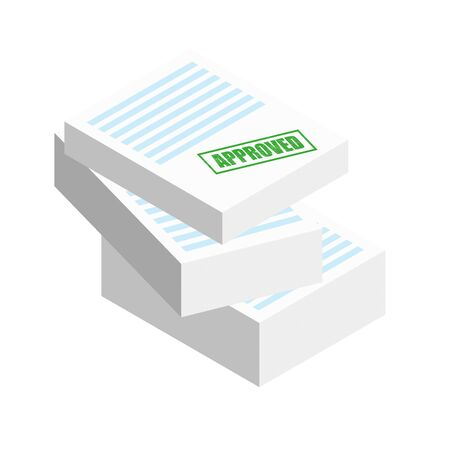 Approved stamp on the stack of paper sheets. Authorization Approval Document, Confirmed Doc, License icon, Approved application. Flat outline modern icon concept design. Foto de archivo