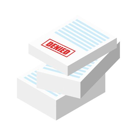 Denied stamp on the stack of paper sheets. Authorization Approval Document, Confirmed Doc, License icon, Approved application. Flat outline modern icon concept design. Foto de archivo