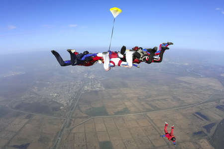 extreme danger: Group of skydivers in freefall