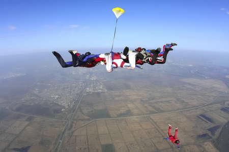 fallschirm: Gruppe von Fallschirmspringer im freien Fall Lizenzfreie Bilder
