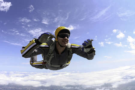 The student performs the task skydiver in freefall  Standard-Bild