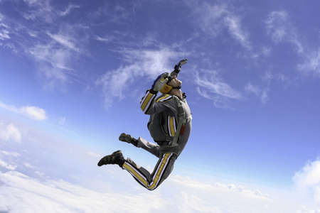 freefall: The student performs the task skydiver in freefall  Stock Photo