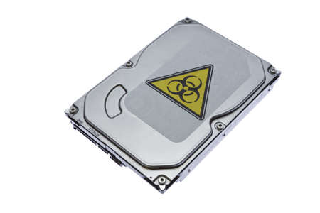 megabyte: Hard drive with the label of virus infection