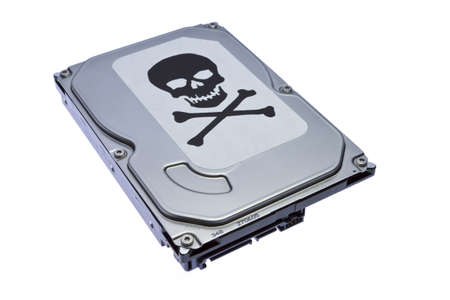 terabyte: Hard drive with the label of virus infection