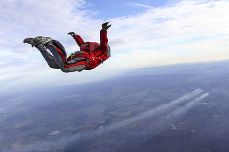 Skydiver flies away
