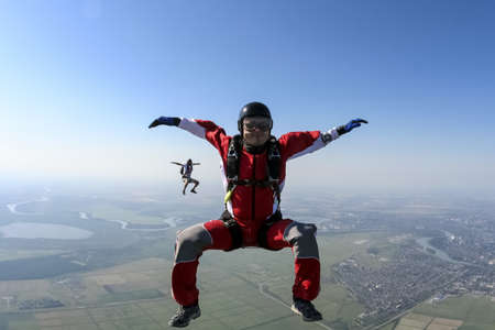 freefall: Two athletes skydiver in freefall