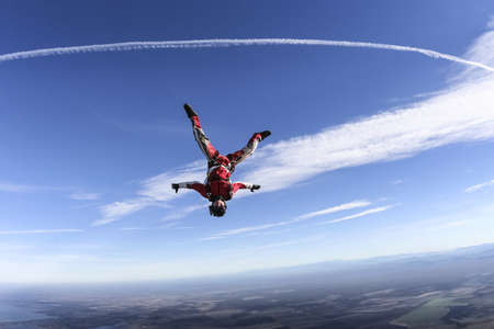 freefall: Skydiver in freefall upside down