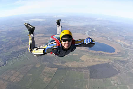 parachute jump: Student skydiver in freefall