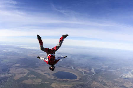 Skydiver in freefall upside down
