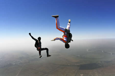 freefall: Skydivers in freefall build a figure