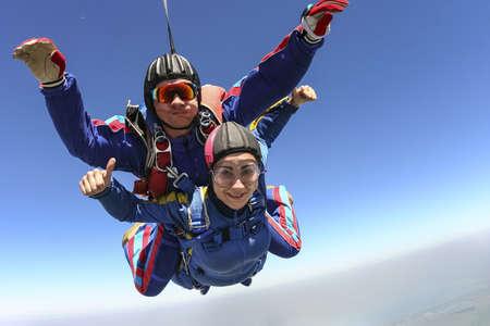 Tandem jump  Flying in a free fall  Reklamní fotografie