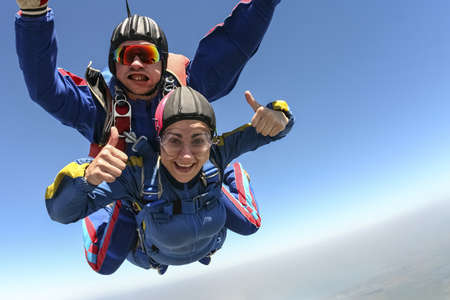 parachute jump: Tandem jump  Flying in a free fall  Stock Photo