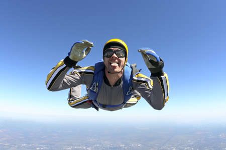 parachute jump: The student performs the task skydiver in freefall  Stock Photo