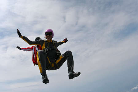 parachuting: Two sports skydiver in freefall. Stock Photo