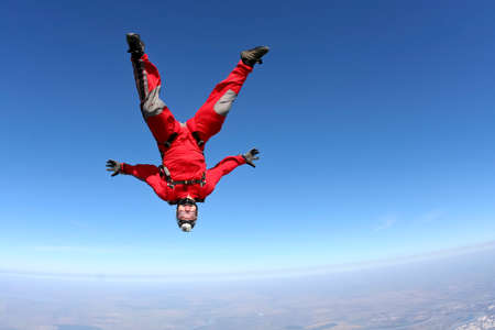 freefall: Skydiver performs freestyle in freefall.