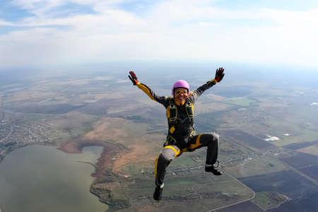 parachuting: The girl parachutist in free style