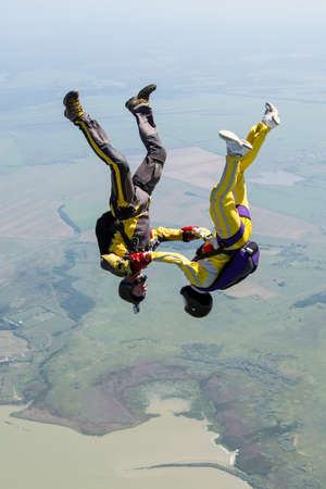 parachuting: Two sportsmen skydiver in free style