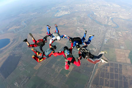 formations: Skydiving foto Stockfoto