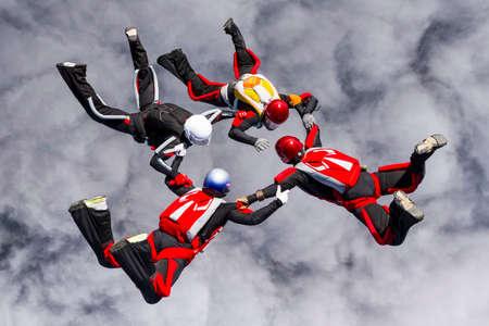 Skydivers in relative work  Reklamní fotografie