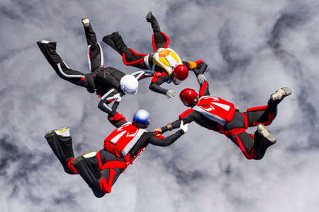 relative: Skydivers in relative work  Stock Photo