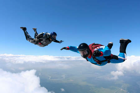parachute jump: Skydiving photo  Stock Photo