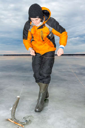 ice fishing: Ice fishing photo  Stock Photo