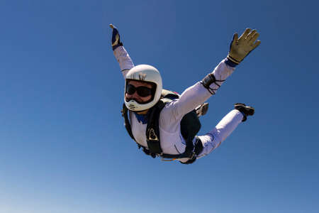 A girl performs in a free fall free style