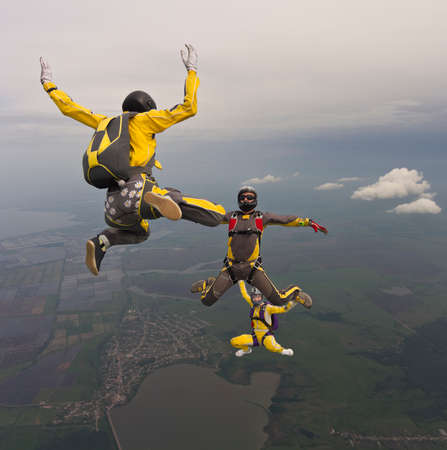 parachuting: Group of skydivers in freefall