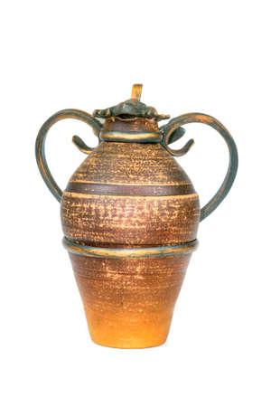 slavic: Antique vintage Slavic earthenware jug, timetable national ornament. White background