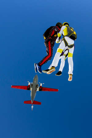 freefall: Group collects figure skydivers in freefall. Stock Photo