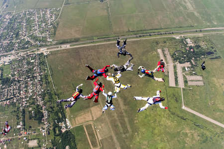 freefall: Group of skydivers in freefall.