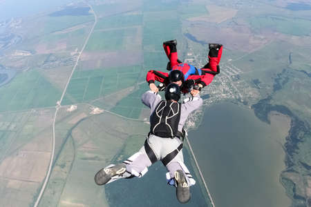 freefall: Two skydiver in freefall.