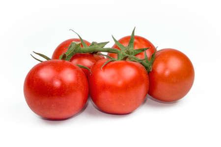 tomatos: Red fresh tomatoes isolated on white background Stock Photo